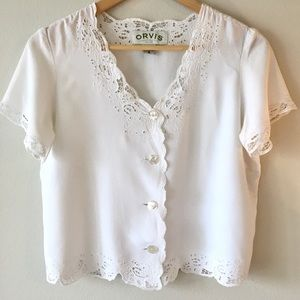 Vintage Orvis White Lace Eyelet Crop Top